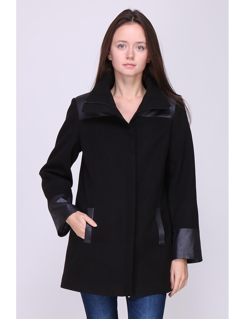 Manteau LAURA mi-long, coupe droite, col enveloppe. Taille 38 Couleur Noir